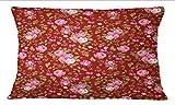 S4Sassy 2 Stueck Rose Blumendruck Baumwolle Popeline Maroon Decoartive Sham Sofa Kissenbezug-24 x 36 Zoll