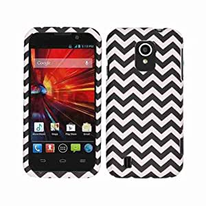 Cell Armor Snap-On Cover for ZTE N9511 Source - Retail Packaging - Black/White Waves