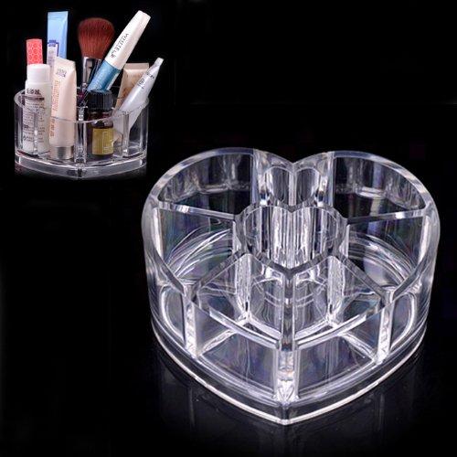 Coeur Clear Acrylic Case de maquillage en forme de support de cosmétique Lipstick Brush Fulltime®