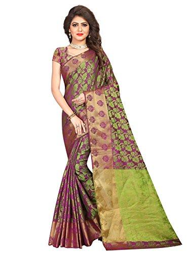Varayu Women's Poly Silk Jacquard Saree With Unstitched Blouse Piece(Green,655SJ405)