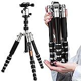 K&F Concept TM2235 kompaktes Stativ Reise Leichtes Reisestativ Kamerastativ aus Aluminium mit 3D-Kugelkopf 26-128cm Silber