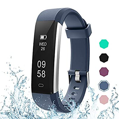 LETSCOM Fitness Tracker, Activity Tracker with Pedometer Step Counter Watch and Sleep Monitor, IP67 Waterproof Calorie Counter Watch, Slim Smart Bracelet for Kids Women Men by LETSCOM