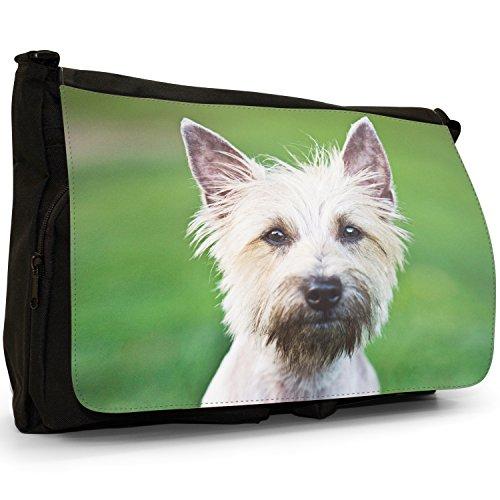 Fancy A Bag Borsa Messenger nero Samoyed Dog Cairn Terrier White Dog
