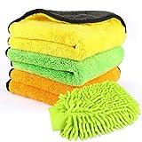 Panni di pulizia per auto in microfibra Premium, Gifort 3 Pack 840GSM Asciugamani per il dettaglio auto e 1 confezione di guanti per auto lavaggio per lucidatura/ ceretta e spolverata