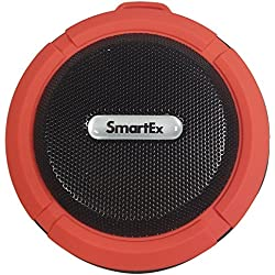 SMARTEX C6, Altavoz bluetooth Waterproof de ducha A2DP, impermeable IP65, sistema manos libres para coche, micrófono incorporado, recargable, para Smartphone, Tablet, PC etc., color rojo
