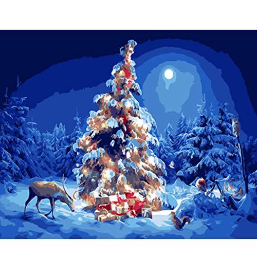 Xyywqybg Malen Nach Zahlen Kit, Diy Ölgemälde Zeichnung Weihnachtsbaum Und Hirsch Leinwand Mit Pinsel Dekor Dekorationen Geschenke-40X50Cm, Combo Box -