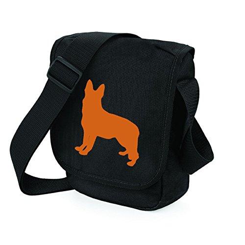 Bag Pixie ,  Unisex Erwachsene Umhängetaschen Orange Dog Black Bag