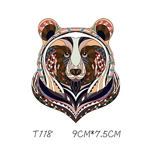 Leo565Tom - Pegatinas de estilo étnico para ropa, diseño de dragón de tigre con parches de transferencia de calor, pegatinas de bricolaje para ropa, parches de planchado, pegatinas decorativas para camiseta, vaqueros, bolsas de ropa, capuchón, Multicolor, T118