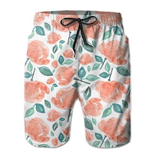 Fun Life Art 4 Bohemian Rose - Peach and Green Men's Shorts Casual Classic Fit Drawstring Summer Beach Shorts Beachwear Summer Holiday Swim Trunks - Miami Peach
