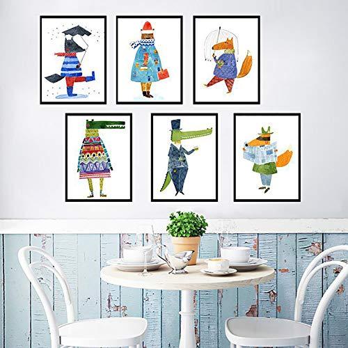 bdrsjdsb Europäischen Stil Cartoon Tiere Leinwand Malerei Dekorative Home Kinderzimmer Ungerahmt Poster 4# 30 cm x 40 cm -