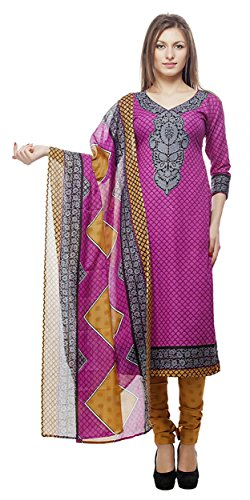 Divyaemporio Women'S Faux Cotton Pink And Mustard Salwar Suits Dress Material