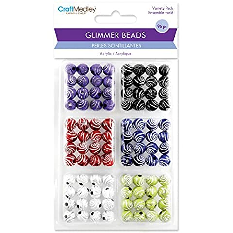 Multicraft Imports Glimmer Acrylic Disco Ball Bead (96 Pack), Glitter Swirl by Multicraft Imports