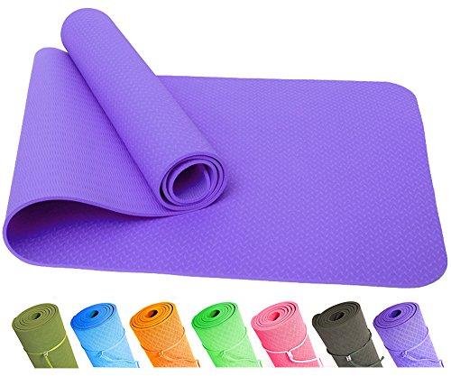 Good Times Yogamatte, rutschfest, TPE, umweltfreundlich, hypoallergen, hautfreundlich, SGS geprüft, Gymnastikmatte, Fitnessmatte, Sportmatte, Bodenmatte mit Tasche & Trageband, 183x61x0,8cm