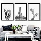 SLHLDA Minimaliste Succulentes Plantes Vertes Toile Art Noir Et Blanc Cactus Affiche Mur Peintures Salon Moderne Décor À La Maison