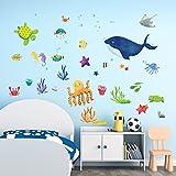 decalmile Unter dem Meer Wandtattoo Meerestiere Blauwal Fisch Wandsticker Kinderzimmer Wandaufkleber Wohnzimmer Schlafzimmer Badezimmer Wanddeko