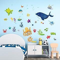 Idea Regalo - DecalMile Sotto il mare Adesivi da Parete Polpo Balena Blu Pesce Adesivi Murali Vinile Removibile Stickers Murali per Bagno Bambini Vivai Stanza del Bambino
