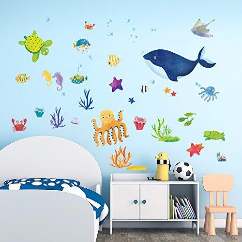DecalMile Bajo el Mar Pegatinas de Pared Ballena Azul Pulpo Peces Adesivi Murali Vinilos Decorativos Habitación Infantiles Guardería Niños Bebés Dormitorios Baños