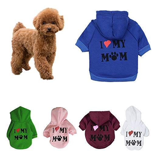 SEGRJ Kapuzenpullover für Hunde, Aufschrift Love My Mom, Gr. S, Rosa Maroon M -