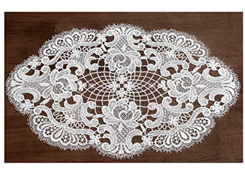 Spitzendecke ovaler Tischläufer Carmen aus Spitze 24x35 cm rohweiss