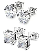 Sailimue 2 Pairs 20G Stainless Steel Stud Earrings for Men Women CZ Earrings Pierced Earrings White 3-8mm