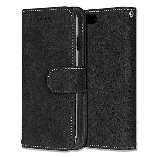 Chreey iPhone 6 6S Hülle, Matt Leder Tasche Retro Handyhülle Magnet Flip Case mit Kartenfach Geldbörse Schutzhülle Etui [Schwarz] - Iphone 6 Ersatz-bildschirm-pink