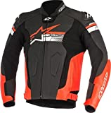Alpinestars Blouson moto Fuji Leather Jacket Black Red Fluo, Noir/Rouge, 50