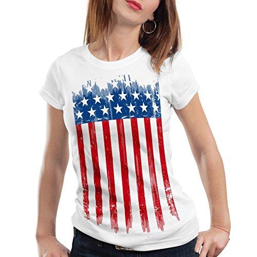 style3 USA Flagge Damen T-Shirt banner vereinigte staaten von amerika us stars stripes, Farbe:Weiß, Größe:2XL