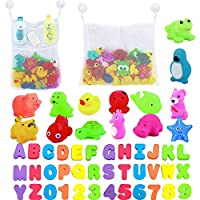 Baby Bath Letters and Numbers Bath Toys with Ocean Farm Animals Floating Squeeze Sound Toys + 2 Mesh Bath Toys Storage Bathroom Shower Organizer + 4 Strong Hooks, Kids Alphabets in Bath Toddler Toys
