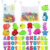 juguetes de baño para bebés, 36 letras y números de baño + 14 animales del océano flotante juguetes sonoros apretón + malla de 2 juguetes de baño almacenamiento de baño de ducha del organizador