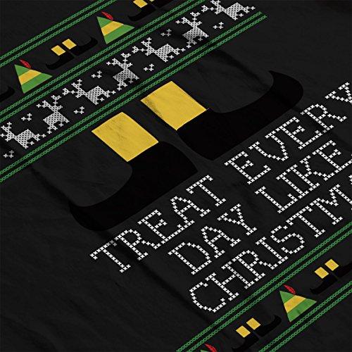 Treat Every Day Like Christmas Elf Quote Knit Women's Hooded Sweatshirt Black