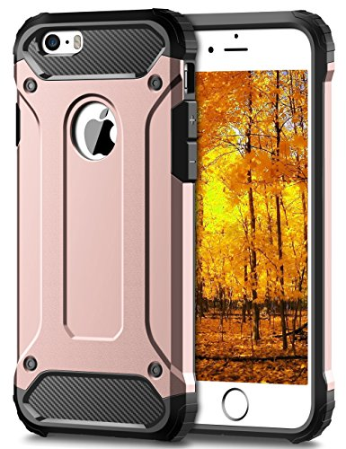 Coque iPhone 5S, Coolden® Housse de protection iPhone 5 Couvertures protectrices d'armure Pare-chocs antidérapant Anti Drop Étuis lourds Pour iPhone 5 5S SE 5G Or Rose