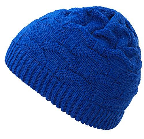 4sold Wave para Mujer Gorro de Lana Gorro Tejido Forro Gorro de Invierno Gorro de esquí y Snowboard Sombreros (Blue)