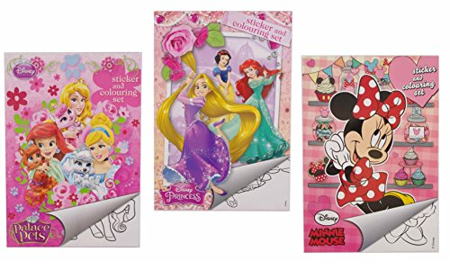 """Sticker Set Din A 5 """"Prinzessinnen"""" """"Tiere der Disney Prinzessinnen"""" und """"Minnie Mouse"""" – Malbuch mit Aufkleber (Daisey Duck)"""