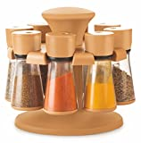 Floraware 8-Jar Revolving Spice Rack Masala Box, Light Brown