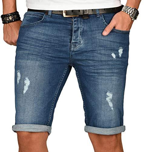 A. Salvarini Herren Designer Jeans Short Kurze Hose Slim Sommer Shorts Washed [AS-147-W34]