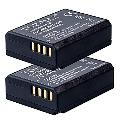 TOP-MAX® (Pack of 2) High Capacity LP-E10 Li-ion Battery for Canon EOS 1100D, EOS 1200D, EOS 1300D, EOS Rebel T3, Rebel T5, EOS Kiss X50,EOS 1200D Digital SLR