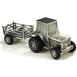 Elegance Pewter Plated Tractor Bank by Elegance