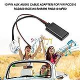 IJeilo - Cavo Audio AUX 12 Pin, interfaccia Radio BT MP3, Adatto per VW RCD210 RCD300 RCD310 RNS300 RNS310 MFD2