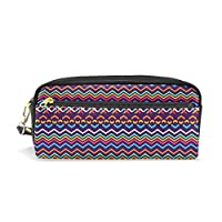 COOSUN Incas Aztec Pattern Portable PU Leather Pencil Case School Pen Bags Stationary Pouch Case Large Capacity Makeup Cosmetic Bag