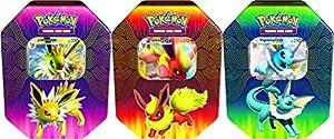 Pokémon POK82527-6 TCG: Lata de Potencia Elemental (Vaporeon/Jolteon/Flareon-GX, uno al Azar)