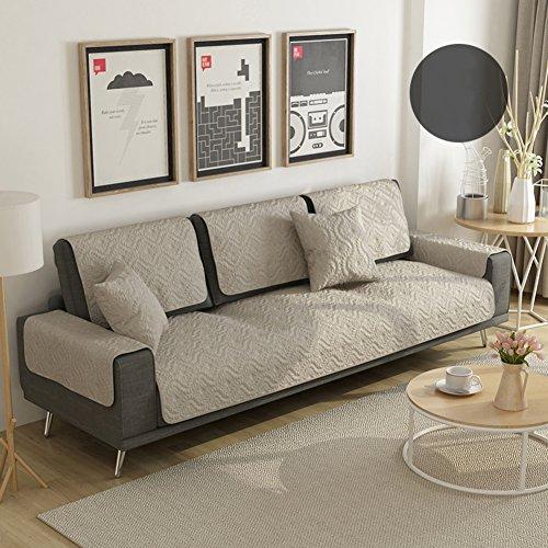 Asciugamano divano,cotone divano cuscino tessuto tinta unita universale in pelle divano telo copertura piena copertura antiscivolo semplice moderna reversibile antimacchia-a 70x120cm(28x47inch)
