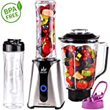 Smoothie Maker | Mix & Go | Licuadora para smoothies con batidora de vaso 2en1 Recipiente de cristal | 350 W | acero inoxidable |...