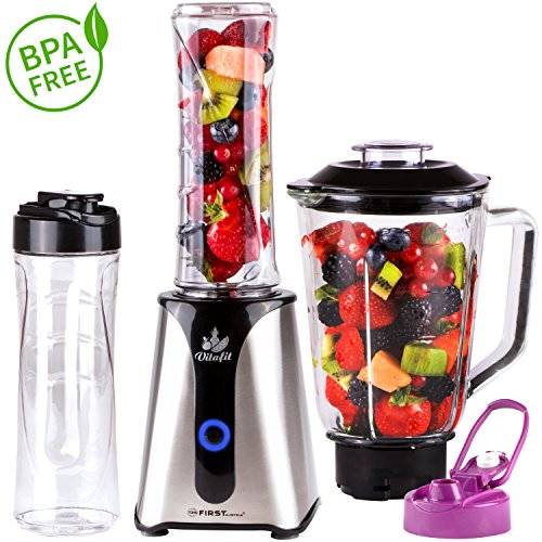 2 in 1 Smoothie Maker con frullatore da tavolo contenitore in vetro | 350 W | Design in acciaio inossidabile | Interruttore ON/OFF | 2 bottiglie da 600ml prive di BPA | Mini Frullatore | Mixer