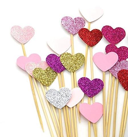 PuTwo Kuchen Toppers 20 Zählungen Handmade Peach Herz Hochzeit Dekoration Party Supplies Cupcake Toppers- Rosa Herz
