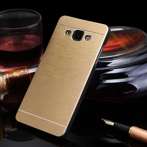 DENICELL Royal Brushed Metal Protective Back Case Cover For Samsung Galaxy J7 (CANARY GOLD)