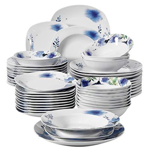 Veweet LAURA 48pcs Service de Table Pocelaine 12pcs Assiettes Plates 24,6cm, Assiette Creuse 21,5cm, Assiette à Dessert 19cm, Bols à Céréales 17cm Vaisselles pour 12 Personnes Fleuri