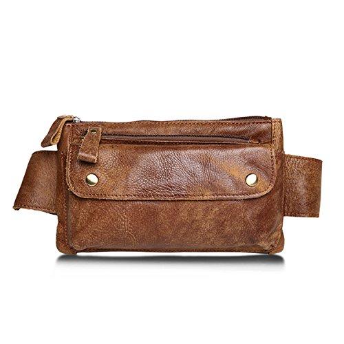 Jonon Unisex Bolso cintura cuero genuino marrón Messenger