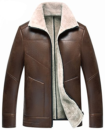 moxishop Herren Italien Frosted Haut Leder Mantel Bomberjacke und Lammfell Shearling Echtem Leather Sheepskin Coat Ⅱ (Large, D1715-Braun)