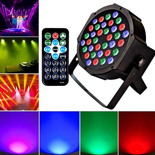 1KOOT RGB LED 36 Perlen PAR Disco Lichter Bühne Lichter DJ Lichter Tonaktivierung DMX- und Fernbedienung Blitzleuchten Beste für Geburtstagsparty Disco Party Familientreffen Hochzeitsfeier