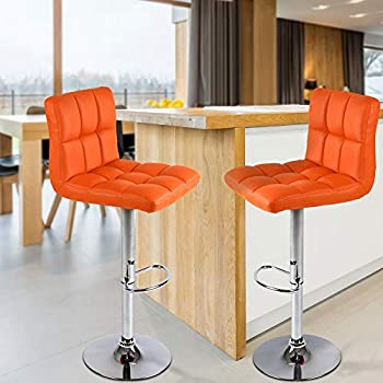 MIADOMODO Bar Stool with Footrest - Height Adjustable, with Faux Leather Padding and Metal Base - Choice of Set and Colour - Home Bar Counter Chair Breakfast Kitchen Swivel Furniture